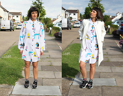 Cassy Bhairo - Lazy Oaf Egyptian Shirt, Nike Huarache Aloha Trainers, Topshop Earrings, H&M White Coat, Topshop Socks - Lazy Oaf & Nike Huarache