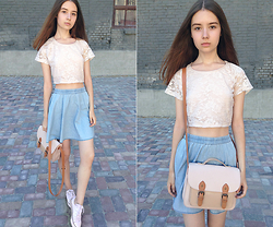 Nastya Titarenko - Topshop Cropped Lace Top, River Island Denim Skirt, Bershka College Bag, Converse White - The New Old