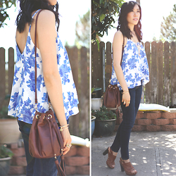 Sherry Lou - Sherry Lou Studio Floral Top, H&M Bag, Abercrombie Jeans, Macys Sandals - Blue and White