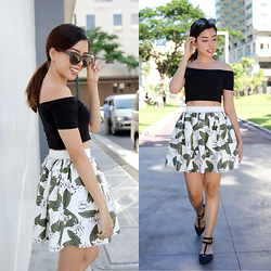 Gela Muñoz - Sunnies Studios Sunglasses, Forever 21 Off Shoulder Crop Top, Tomato Tropical Print Highwaisted Skirt, Tomato Double Strap Flats - New Leaf