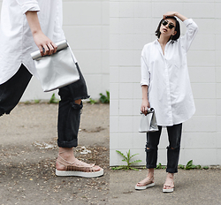 Alyssa Lau - Suzanne Rae Button Up Shirtdress, Smk Foldover Bag - Shine