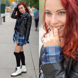 Ashley Laderer - H&M Leather Jacket, Lucky Brand Flannel, Victoria's Secret Denim Shorts, H&M Over The Knee Socks, Via Rocks Box Subscription Service Ring, Dr. Martens 1460 Combat Boots - FREE TRIAL OF ROCKSBOX JEWELRY W/ CODE UNICORNBLOGXOXO