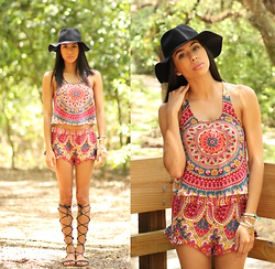 Karla Quinones - Billa Festival Vibes Halter Top, Billabong Island Escape Shorts, Aldo Gladiator Sandals, Forever 21 Hat - Matching Set