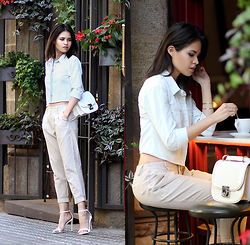 Adriana Gastélum - Lulus Cropped Denim Shirt, Lulus Striped Capri Trousers, Steve Madden White Minimal Sandals, Salvatore Ferragamo Jody Bag, Fake Leather Check Out More On - LA x BCN