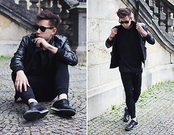 Frank Lin - Zara Black Leather Jacket, Imperial Black Pants, Zara Black Shoes, Bershka Black Shirt - Black summer.