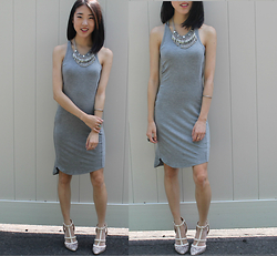 Keri H - Forever 21 Necklaces, Alternative Apparel Dress, Mossimo Heels - Gray Day