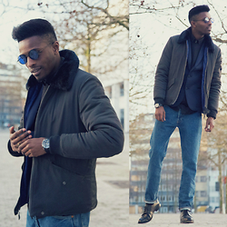 Jon The Gold - Freyrs Eyewear Sunglasses, Native Youth Jacket, Levi's® Jeans, We Fashion Neoprene Blazer, Lord Eston Shoes - A Touch of Retro