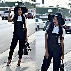Daphne Blunt - Asos Overalls, Kate Spade Blouse, Celine Tote, Christian Louboutin Pumps, Topshop Floppy Hat - Off Duty Overalls