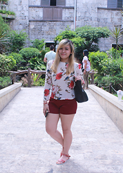 Shahani Lopez - Thrift Shop Roses Sheer, Fisher Mall Red Short, Hue Manila Angelica In Chesnut - Roses are Red