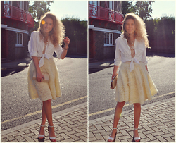 Taylor Gymer - H&M Shirt, H&M Skirt, Topshop Top, Accessorize Bag, Zara Shoes - Little white shirt