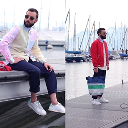 David Fernandez - Ray Ban Sunglasses, Gant Shirt, Gant Vest, Gant Trousers, Adidas Sneakers, Freitag Bag, Alfex Watch - At the Marina