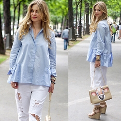 Irina Tschatchina - H&M Blouse, Zara Jeans - Light blue and white