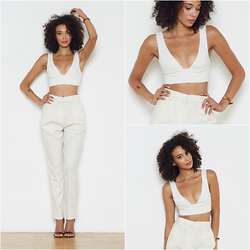 Shemmai Torres - Topshop Crop Top, American Apparel High Waisted Pleat Pant, Topshop Scrappy High Sandals - White Rabbit