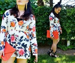 Linda B - Dresslink Floral Long Sleeve Romper, 2sexystore Orange Clutch, Just Fab Studded Sandals - The Floral Romper