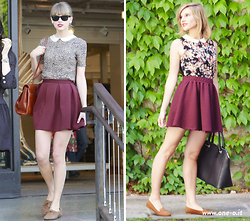 Cristina Siccardi - Stradivarius Floreal Round Necked Shirt, Pull & Bear Grapefruit Skater Skirt, Sisley Black Leather Bag, H&M Brown Suede Flat Ballerina - How to looks like Taylor Swift: Grapefruit