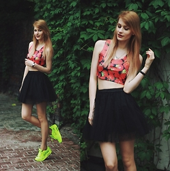 Katarzyna KOKA Konderak - Top, Chic Wish Skirt, Shoes - Strawberry top.