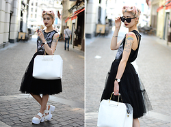 Léopoldine Cannibale - Chic Wish Tulle Skirt, Shein Cat Top, Asos Platforms, L'usine à Lunettes Butterfly Sunglasses, Asos Retro Bag - Cat & tulle