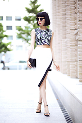 Samantha Mariko - Forever 21 Crop Top, Tobi Skirt, Zara Heels, Ted Baker Clutch, Zero Uv Sunglasses - Clean summer whites & prints
