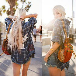 Sarah Loven - Wings Hawaii Flannel, Pylo Cutoff Denim Shorts, Wings Hawaii Satchel Bag - Venice Vibes