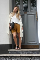 Fashiontwinstinct - Zara Off Shoulder Blouse, Zara Shorts, Mango Fringe Poncho, H&M Flats, Zara Bag - Crochet and Fringe.