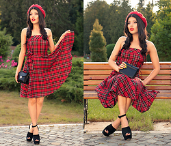 Kristina Zavarski - Oasap Hat, Calliope Dress, Aldo Sandals, H&M Bag - Tartan dress