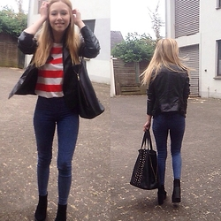 Ann M. - Zara Shirt, H&M Jeans, Sacha Shoes Boots, Pimkie Bag, Leather Jacket - Feel good