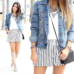 Macarena Ferreira - Blush Shorts, Gap Denim Jacket, Jeffrey Campbell Shoes, Jeffrey Campbell Bracelet, Michele Watch - Stripes + Gladiator Sandals