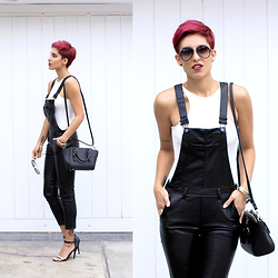Adriana Seminario - Steve Madden Black Stilettos, H&M Fake Leather Black Overall, H&M White Body - Cry Baby