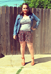Mayra Mejia - J Crew Jean Jacket, Forever 21 Tee, Express Shorts, Just Fab Heels - Love Your #Selfie