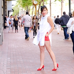 Desiree Adrienne Lim - Forever 21 Top, Forever 21 Shorts - White & Red