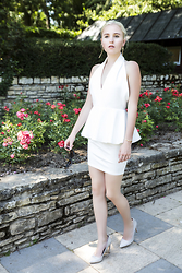 Nicola Marleen - Ax Paris Dress, Pasty Lady Earrings, Mango Shoes - Little White Dress