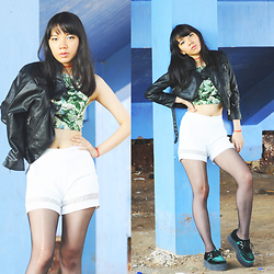 Valerie Samantha - Topshop Greenary Crop, Widow Black Leather Jacket, Zara White Shorts, T.U.K Footwear Mondo Creepers, Shophella Tattoo Bracelet - Blues