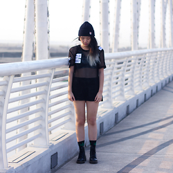 Melisa A - Misbhv Top, Fitlosophy Intimates, Huf Socks, Dr. Martens Boots, H&M Shorts, Maison Kitsune Beanie - THIS IS GOSPEL.