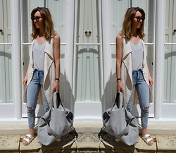 Helen Hird - Topshop Sleeveless Duster, Vero Moda Jeans, Topshop Suede Travel Bag, Birkenstock Arizona - TRAVEL