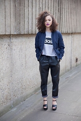 Charnelle Gardiner - Adidas Sports Tee, Primark Bomber Jacket, H&M Faux Leather Joggers, New Look Platform Heels - #2