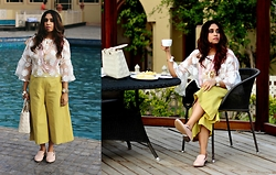 Surbhi Suri - Labeltff Cape Blouse, Fab India Culottes, Clarks Flats, Label Tff Indian Jewellery - Tea Party