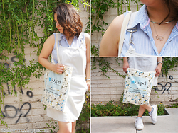 Nelly Ojeda - Souvenir From Milan Canvas Tote, H&M Baby Blue Button Up, Thrifted White Overalls, Nike White Sneakers, Local Fair Silver Choker, Must De Cartier Vintage Watch - How I Style My White Overalls