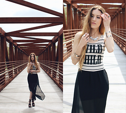 "Lauren Schoonover - Forever 21 Wild Child Tee, H&M Sheer Maxi Skirt, Shoe Cult Heels, Slate ""Beyond The Horizon"" Necklace, Slate Barred Cuff, H&M Bangles - Outfit 248"