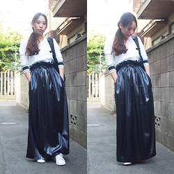 Yu Kuwabara - John Lawrence Sullivan High Waisted Rubber Long Skirt, Toga Virilis Underwear Long Sleeve, Lorinza Backpack, Adidas Stan Smith Sneakers - The Night Sky Skirt