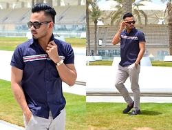 Paul Ramos - Bench Shirt Sleeve Shirt, New Look Grey Chinos, Clarks Loafers, Sama Eyewear Wafarers - ONE CASUAL DAY