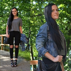 Estera Owczarz - Choies Jeans, Choies T Shirt, Armani Jeans Jacket, New Look Heels - Ripped jeans and white stripes