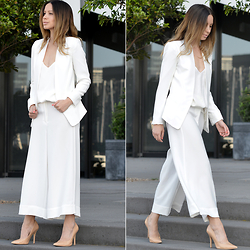 Friend in Fashion * - Culottes, White, Jimmy Choo Nude - WHITE SUITING
