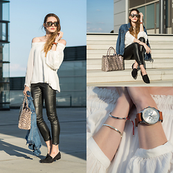 Lisa Fiege - Triwa Nevil Watch, Peter Kaiser Bag, Forever 21 Denim Jacket, Lespecs Sunglasses, H&M Off Shoulder Top, H&M Leather Leggins - Reflections