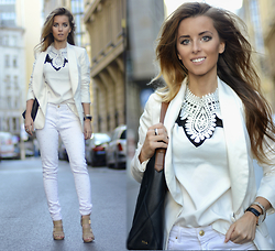 Pola D. - Sheinside T Shirt, Zara Studded White Pants, Ralph Lauren Hobo Handbag - White