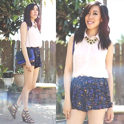 Sherry Lou - Asos Pink Top, Urban Outfitters Bag, Forever 21 Shorts - Golds Blues & Blacks