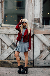 Rachel Lynch - Deandri Two Piece Set, Nbd Red Moto Jacket, Jeffrey Campbell Black Platforms - Mini skirt