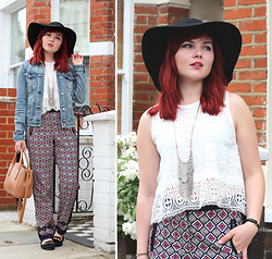 Paige Joanna Calvert - Ark Clothing Lace Top, Ark Clothing Trousers, Topshop Denim Jacket - All the trimmings