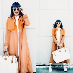 Kayla McC - Fevrie Sheer Genuis Coat, R & J Leather Canvas Artist Bag, Bdg White Shoes - Call me Clementine