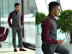 Paul Ramos - Ysl Waistcoat, H&M Grey Pants, Bachelor Shoes Slippers, Ted Baker Floral Tie, Max Fashion Shirt - SHADES OF BURGUNDY