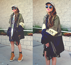Bebe Zeva - Nasty Dress Camo Trench Blouse, Romwe Platform Boots, Romwe Sunglasses, Styleart Camo Eyes Top - Eye can't see me